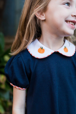 Navy Knit Dress with Pumpkin Embroidery