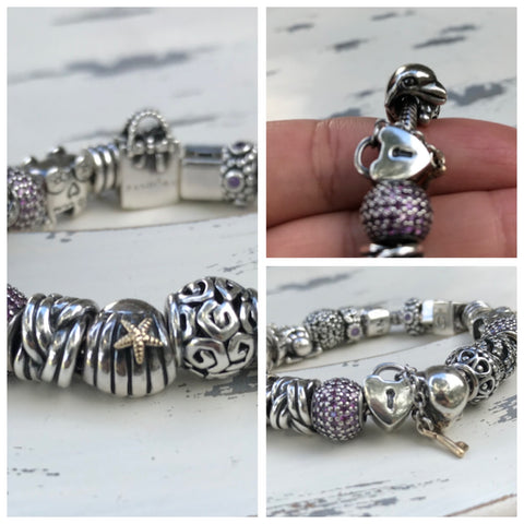 Seashell, Dolphin and Key to my Heart Pandora Charm