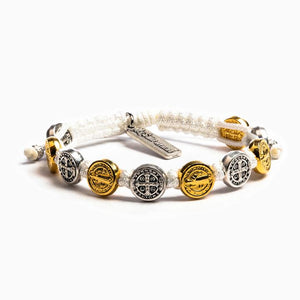 My Saint My Hero: Benedictine Blessing Bracelet -White with Mixed Medals