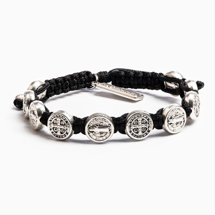 My Saint My Hero: Benedictine Blessing Bracelet -Black with Silver Medals