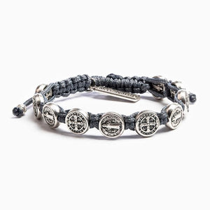 My Saint My Hero: Benedictine Blessing Bracelet - Slate with Silver Medals