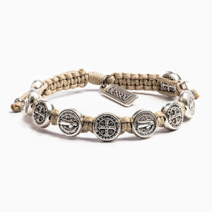 My Saint My Hero: Benedictine Blessing Bracelet - Tan with Silver Medals