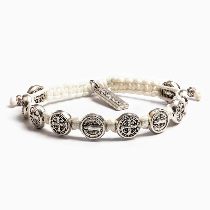 My Saint My Hero: Benedictine Blessing Bracelet - White with Silver Medals