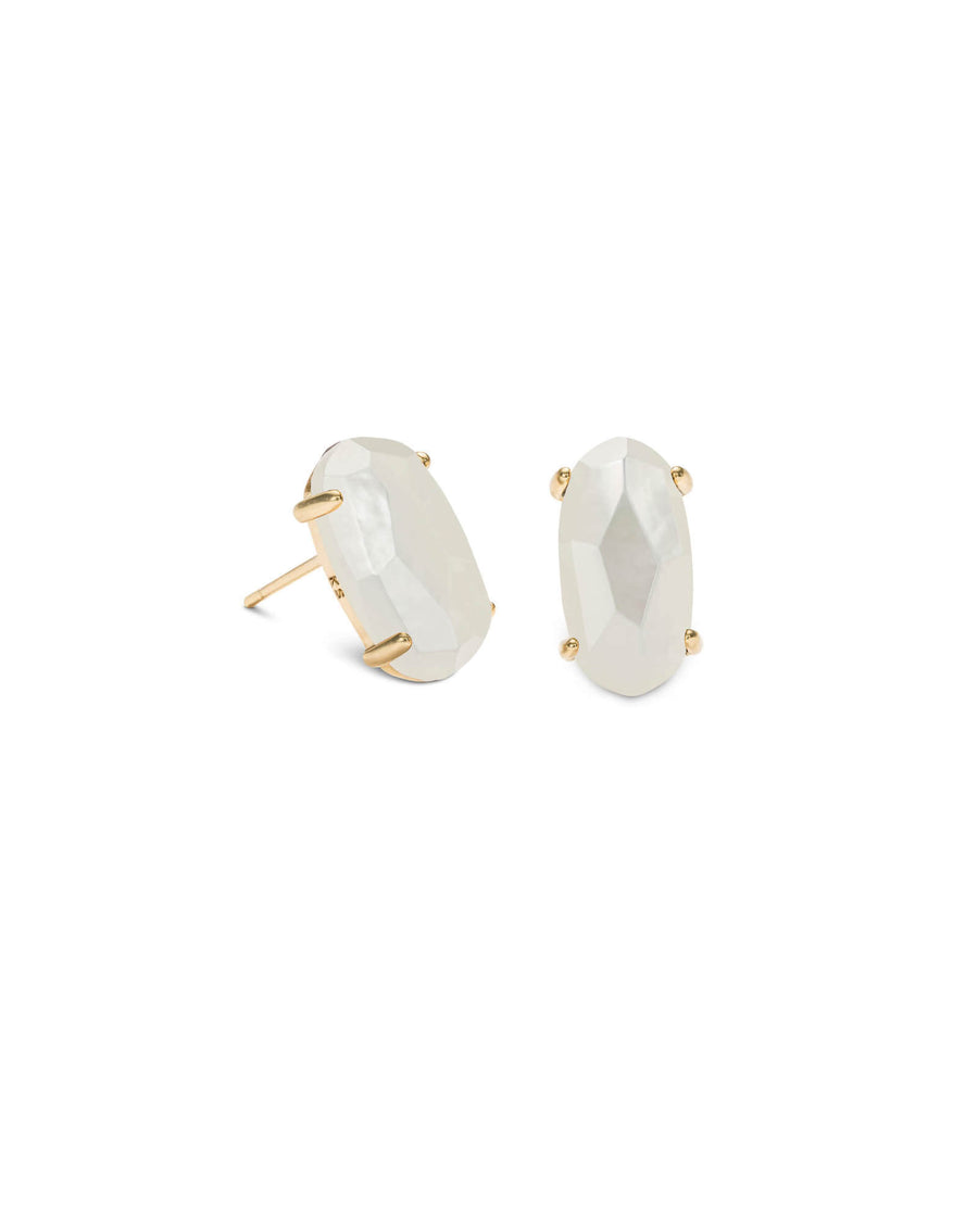 Kendra Scott: Betty Gold Stud Earrings In Ivory Pearl