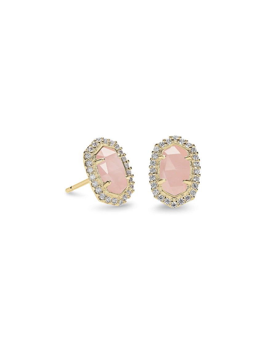 Kendra Scott: Cade Gold Stud Earrings In Rose Quartz