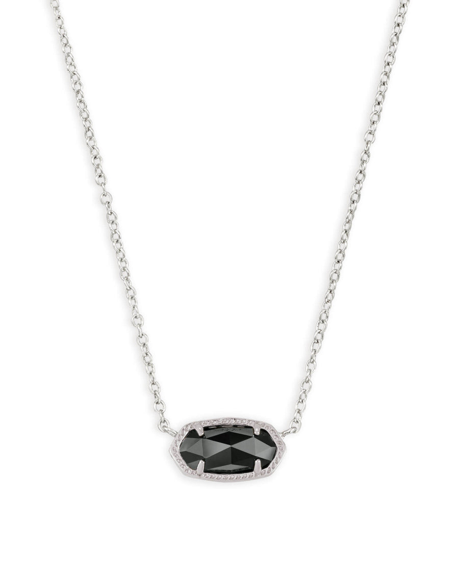 Kendra Scott: Elisa Silver Pendant Necklace in Black Opaque Glass