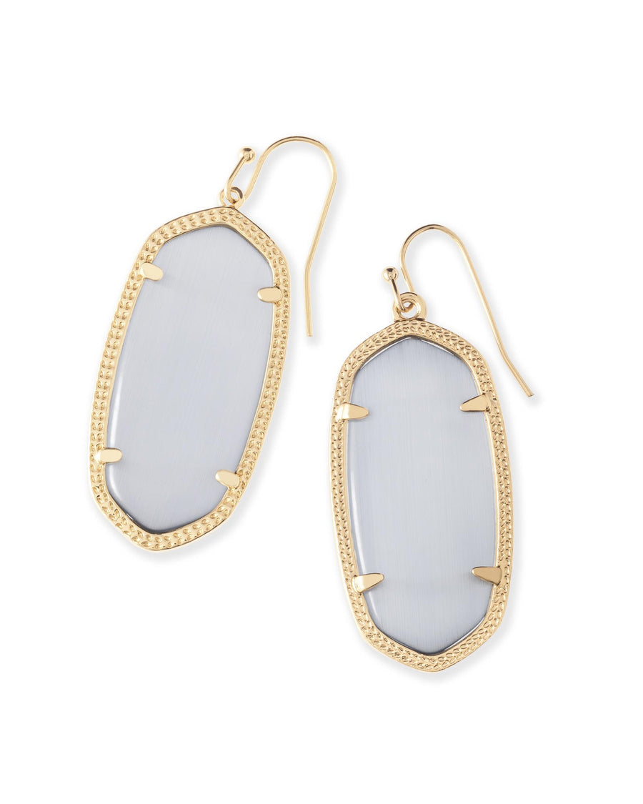 Kendra Scott: Elle Gold Drop Earrings In Slate Cats Eye