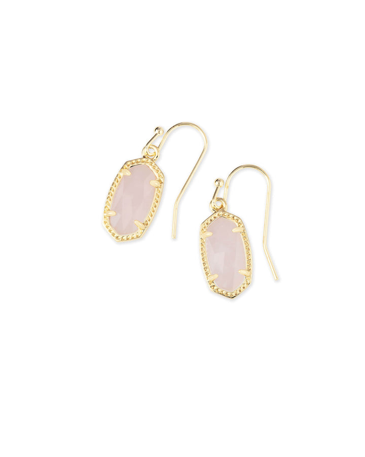 Kendra Scott: Lee Gold Drop Earrings In Rose Quartz