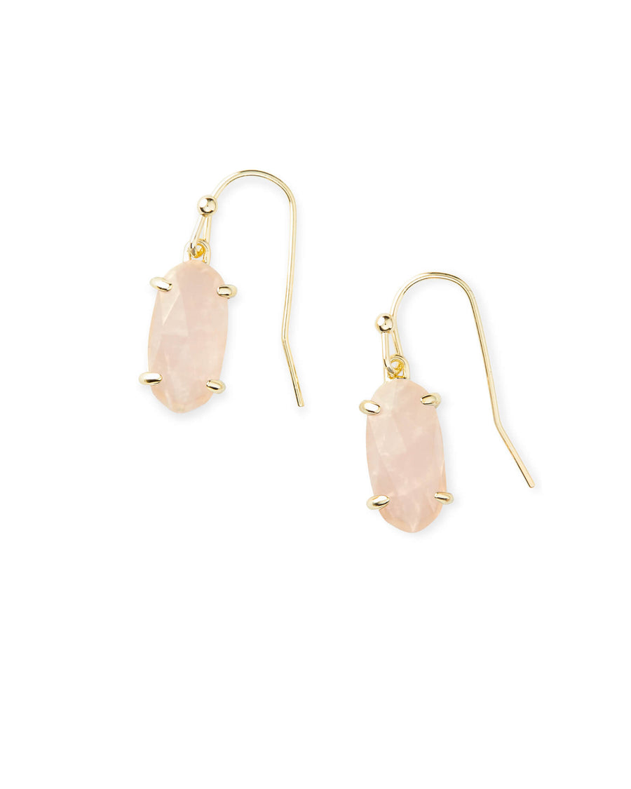 Kendra Scott: Lemmi Gold Drop Earrings In Rose Quartz