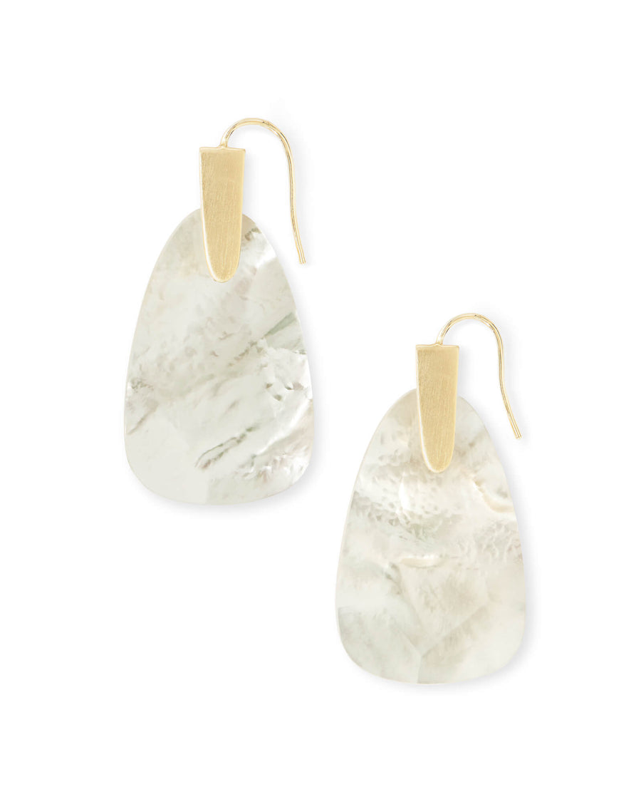 Kendra Scott: Marty Gold Drop Earrings In Ivory Pearl