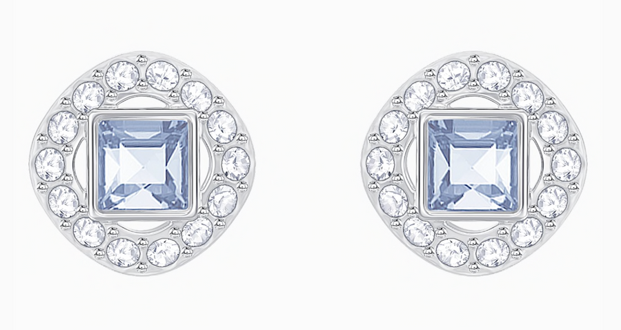 Swarovski: Angelic Square Pierced Earrings, Blue