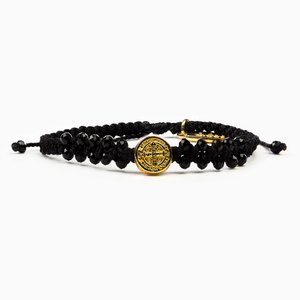 My Saint My Hero: Stairway to Heaven Crystal Benedictine Bracelet - Black with Gold Medal