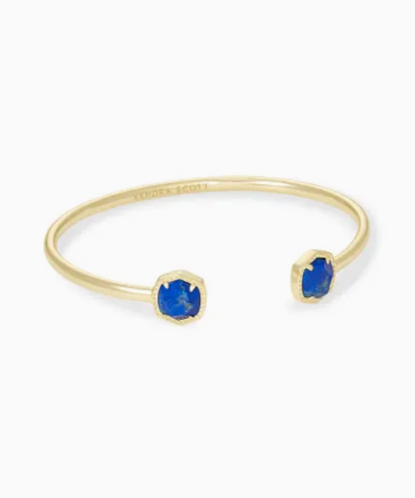 Kendra Scott: Davie Gold Cuff Bracelet In Cobalt Howlite