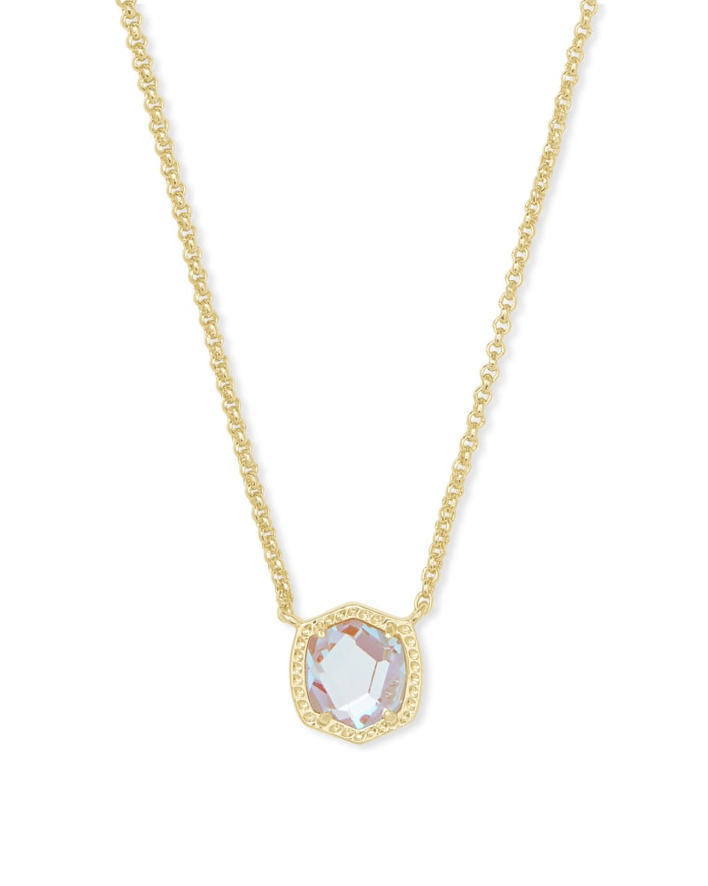 Kendra Scott: Davie Gold Pendant Necklace In Dichroic Glass