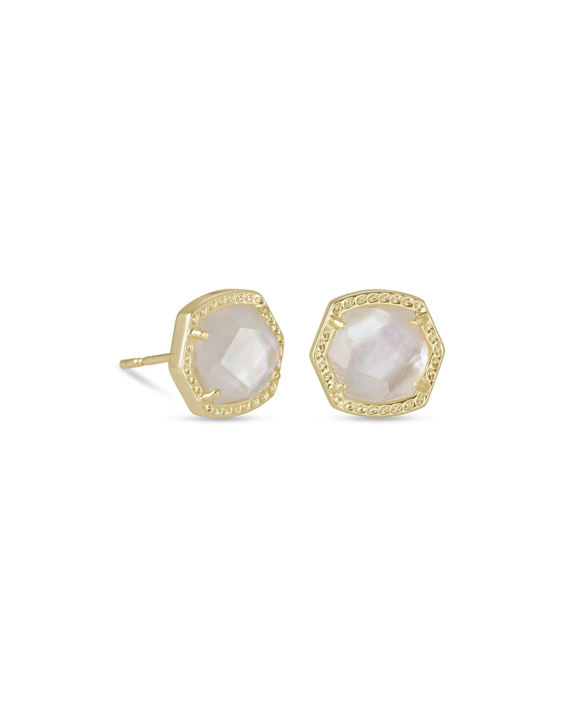 Kendra Scott: Davie Gold Stud Earrings In Ivory Mother-Of-Pearl