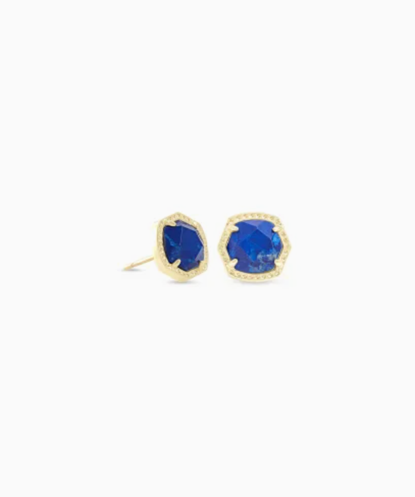 Kendra Scott: Davie Gold Stud Earrings in Cobalt Howlite