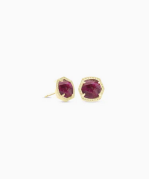 Kendra Scott: Davie Gold Stud Earrings in Raspberry Labradorite