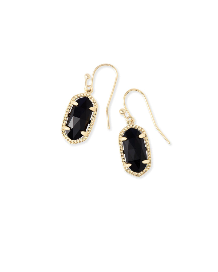 Kendra Scott: Lee Gold Drop Earrings In Black Opaque Glass
