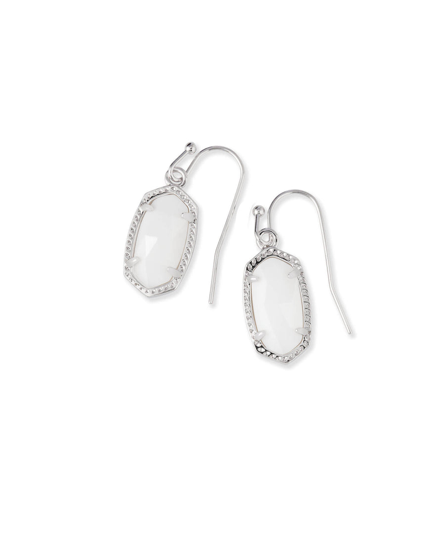 Kendra Scott: Lee Silver Drop Earrings In White Pearl