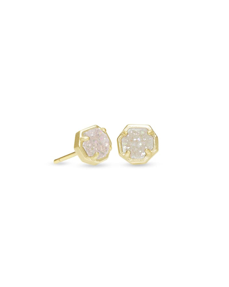 Kendra Scott: Nola Gold Stud Earrings In Iridescent Drusy