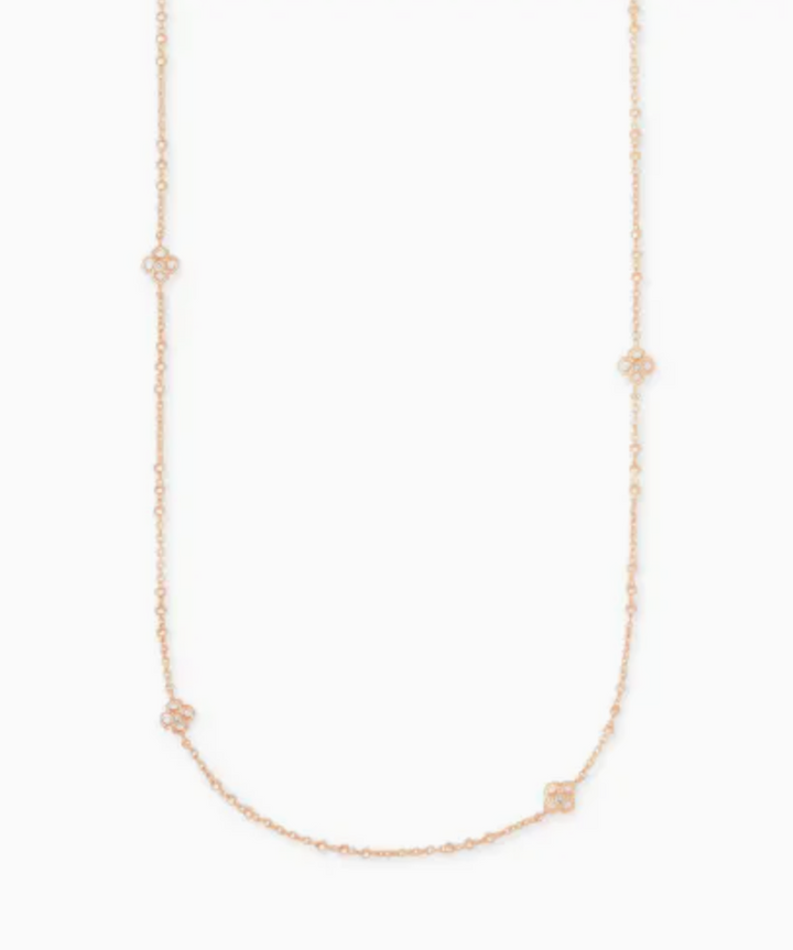 Kendra Scott: Rue Long Strand Necklace In Rose Gold