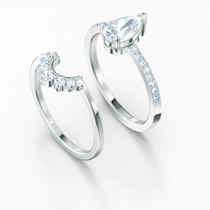 Swarovski: Attract Pear Ring Set