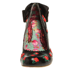 Easy P Sea Black Heels with Red Floral Detail from Irregular Choice