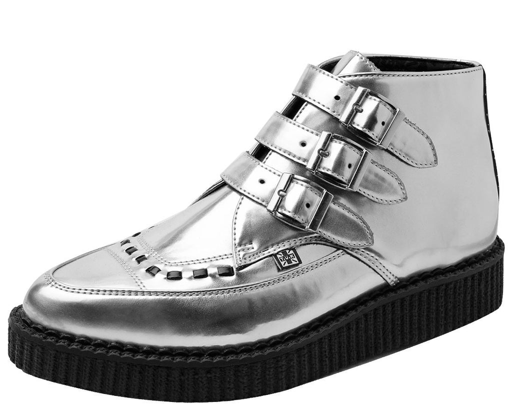 Silver 3-Buckle Pointed Boots