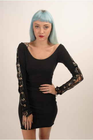 Lace Up Long Sleeve Chopper Dress by The Ragged Priest