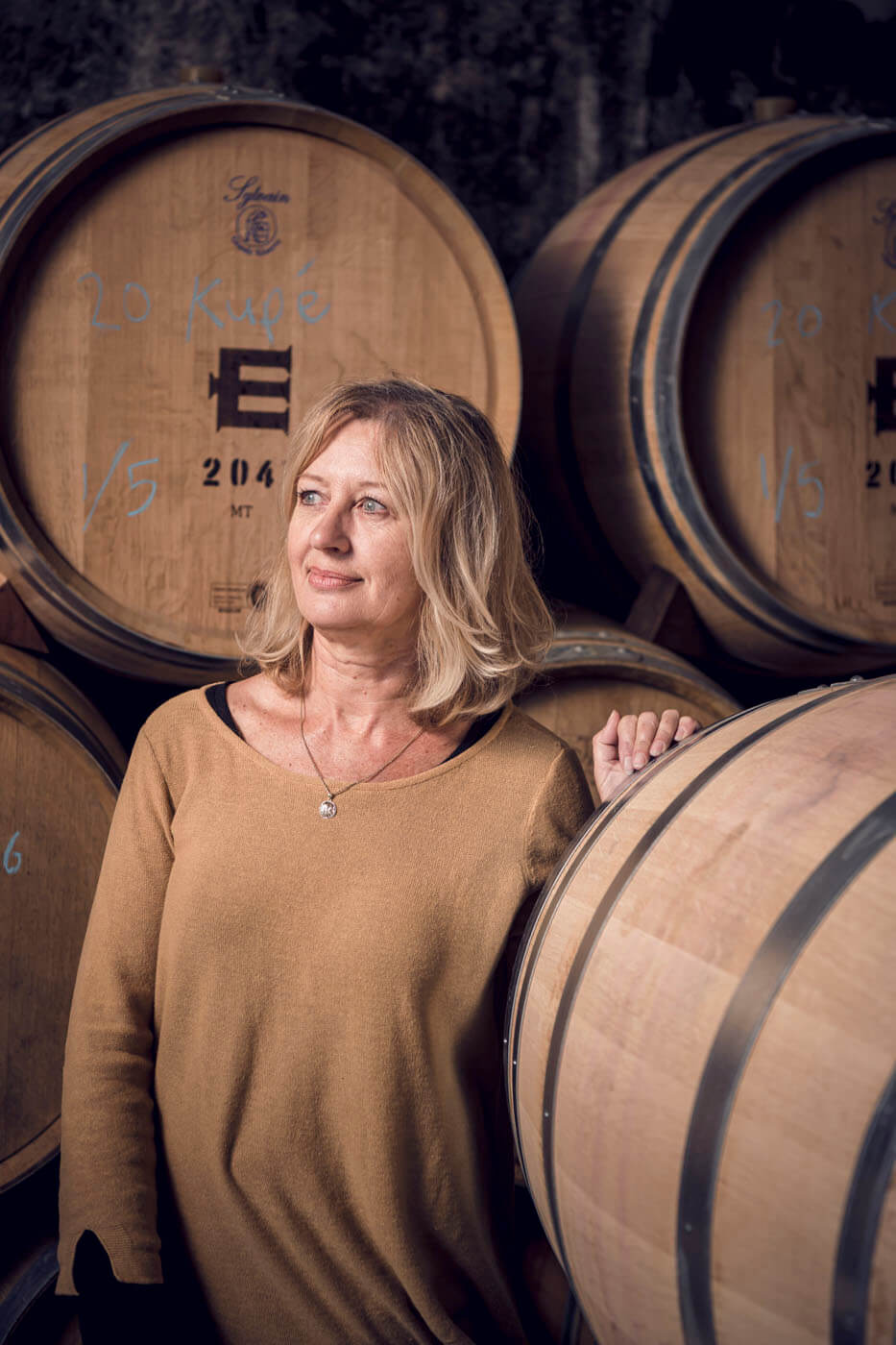 Andrea Canning, the office manager at Escarpment Vineyard in the barrel hall