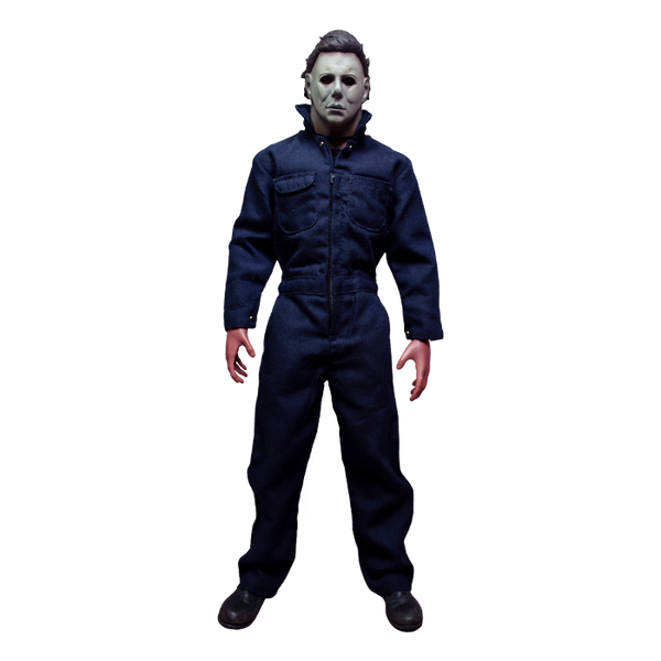 This is a Halloween 1978 Michael Myers action figure and he has a white face, brown hair, blue coveralls and black boots.