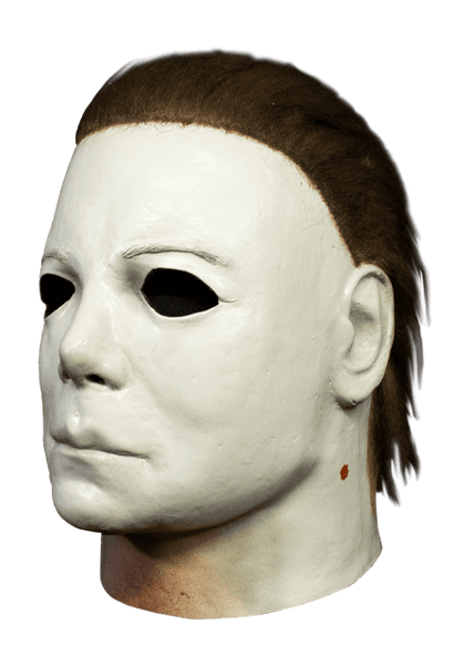 This is a Halloween 1978 Boogeyman Michael Myers mask and it is a white face, with brown hair and flesh neck.