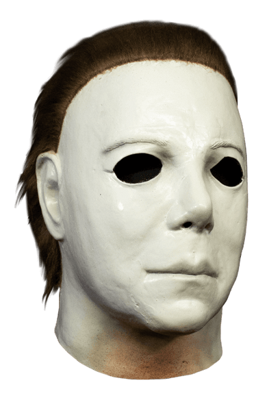 This is a Halloween 1978 Boogeyman Michael Myers mask and it is a white face, with brown hair and cut out eyes.