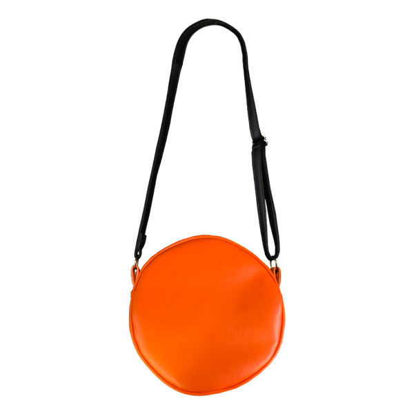 This is a Halloween 1978 pumpkin purse that is orange with a black strap.