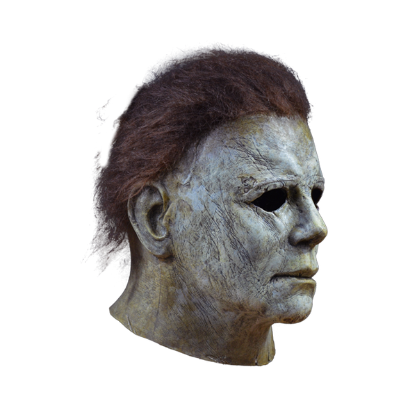 This is a Halloween 2018 Michael Myers mask that is a grey face, neck and ear and is weathered and has brown hair and black eyes.