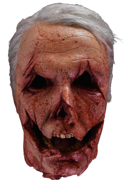 This is a Halloween 2018 Officer Francis severed head foam prop and he has grey hair, gauged out eyes, a cut mouth, nose cut off and white teeth.