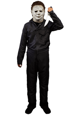 This is a child's Halloween 2018 Michael Myers costume bundle and it is a white mask with brown hair, a silver knife and grey coveralls.