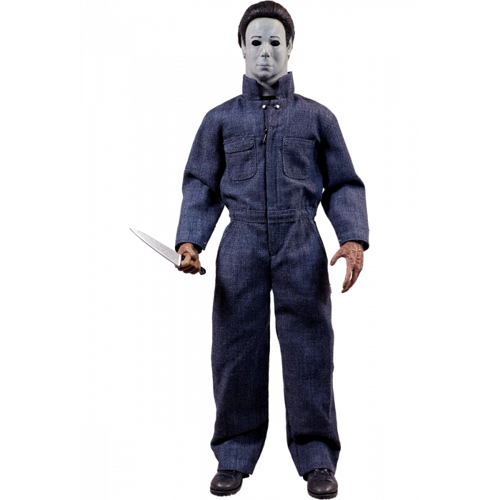 This is a Halloween 4 Return of Michael Myers Trick Or Treat Action Figure and he has a white mask, blue coveralls and a silver knife.