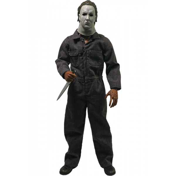 This is a Halloween 5 Revenge of Michael Myers Trick Or Treat Action Figure and he has a white mask, grey coveralls and a silver knife.