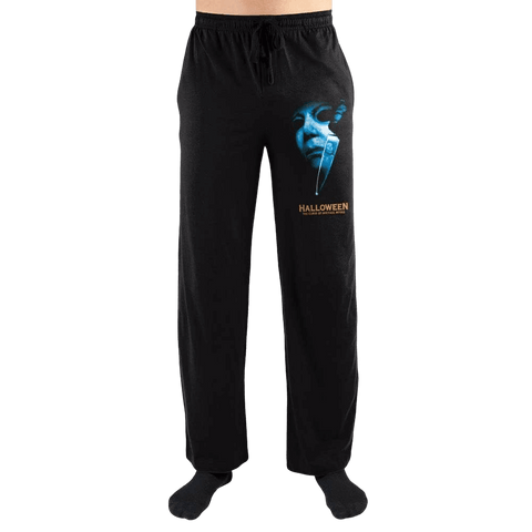 These are sleep pants from Curse of Michael Myers and they are black with a white mask and knife printed on the leg.
