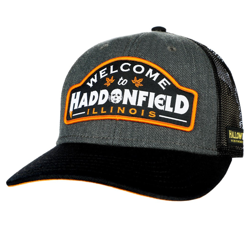 This is a grey Halloween movie Haddonfield Michael Myers trucker hat with black mesh.