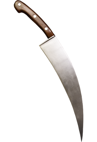 This is a Halloween Michael Myers poster knife that has a curved, silver foam blade and a brown handle that has three gold dots.