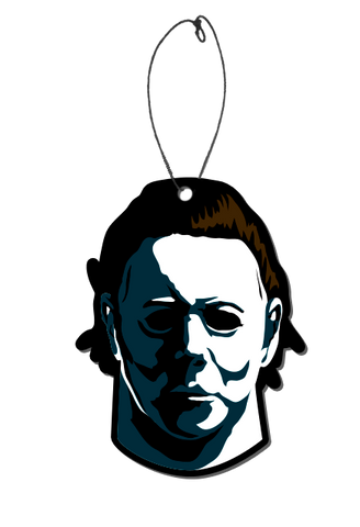 A hanging air freshener with a picture of Michael Myers from the original 1978 HALLOWEEN movie