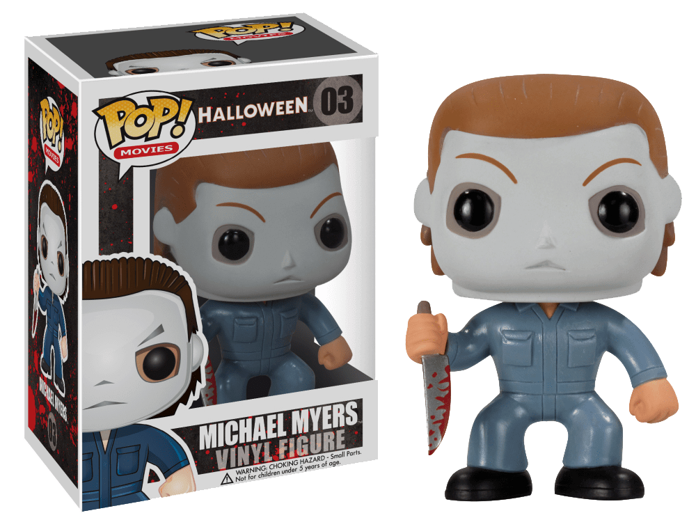 This is a Halloween Michael Myers Funko pop and he has a white face, blue coveralls and is holding a knife in his hand.