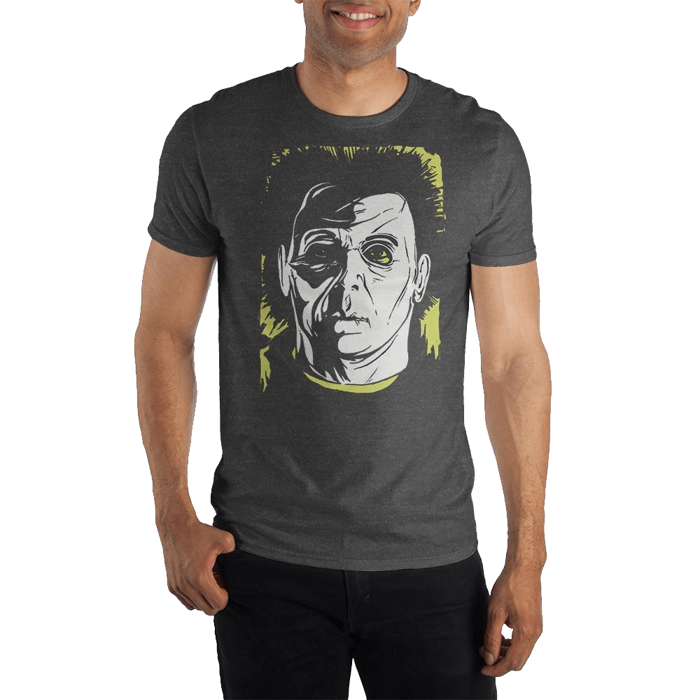 Man facing forward wearing a tshirt with an image of Michael Myers from the Halloween movie franchise