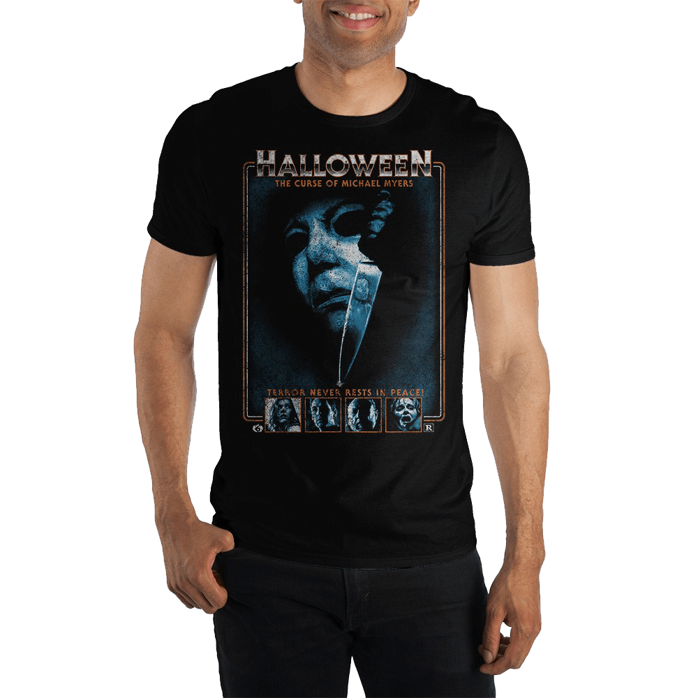 This is a Halloween 6 Curse of Michael Myers Tshirt that is black and has a white face with a shiny silver knife on it.