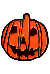 This is a pumpkin enamel pin from HALLOWEEN 2018 and it is orange with black lines, black eyes and a black smile.