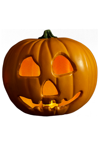 This is a Halloween 2 plastic light up pumpkin and it has eyes, a nose and a smile cut out.