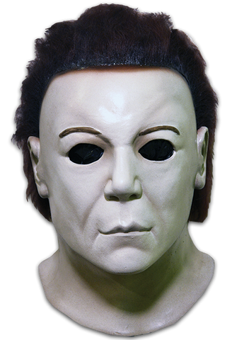 This is a Halloween 8 Resurrection Michael Myers mask that is a white face, brown hair and black eyes.