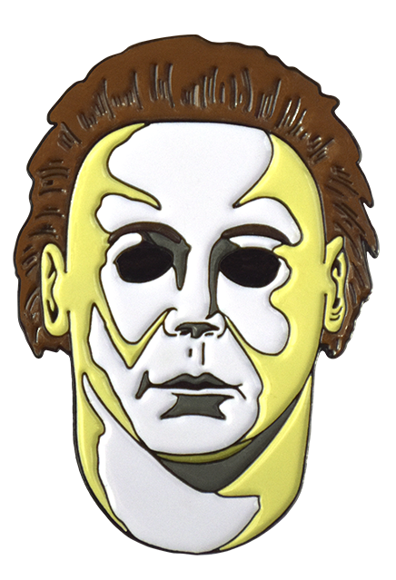 This is a Michael Myers enamel pin from Halloween H20 and it is a white face with brown hair and black eyes.
